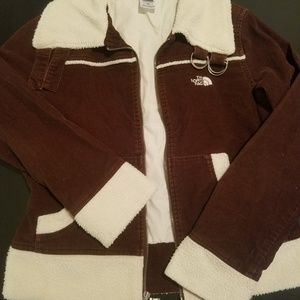 The North Face Brown Aviator Jacket w/ White Trim